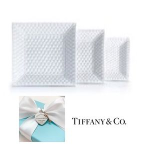 Tiffany & Co 3 TIFFANY WEAVE White Nesting Trays